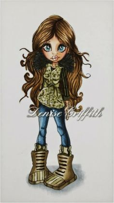 Jordanna  Hair: E50, E55, E57 and E59 Fluffy Collar: C7 and black multiliner Vest: E43, C3, BG93, YG91 and YG99 - dotted effect Jeans: B91, B93, B95 and B97 Boots: Same colour combinations as her vest with some E44 Face: E000, E00, E04, E11, E21 and R20 for cheeks Dolly'z Cardz: A big day of colouring with my crafty friends
