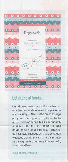 """La revista de Argentina """"Tigris: recomienda """"Refranario"""", ed. Abran Cancha."""