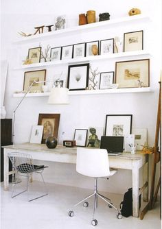 Pictures on Shelf.  Use leftover material from making table to create shelves for the room.