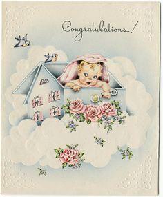 Images Vintage, Vintage Cards, Vintage Postcards, Old Greeting Cards, Old Cards, Purchase Card, Baby Illustration, Baby Journal, Baby Album