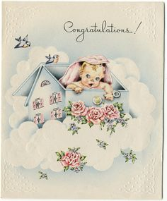 https://flic.kr/p/9SwefZ | Vintage Greeting Card c1946-1947 | 1923 through 1977  Published without a copyright notice  In the public domain due to failure to comply with required formalities  Purchased card at estate sale - little girl born 10/22/47  Please inform me if you discover that this image is not in public domain.  Refer to this sets' main page for terms or use, or goto the collections' main page.  QT-196, USA, no copyright