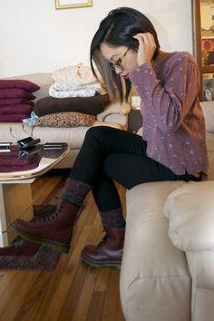 Cherry Dr Martens boots - black justusa jeans - deep purple socks