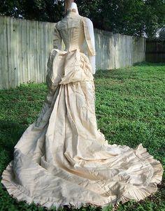 WEDDING GOWN c.1880, labeled B.Altman