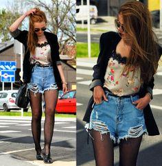 Sheinside Shorts, Zara Blouse, Ray Ban Sunglasses, Next Jacket, Centro Loafers