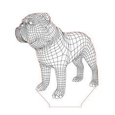 English bulldog 2 illusion lamp plan vector file for CNC - 3d Illusion Art, English Bull, Led Night Light, Lamp Design, Vector File, Plexus Products, Line Drawing, Wood Carving, Lion Sculpture