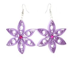 Lilac Earrings Quilling Lightweight Star Paper by PensieriCreativi