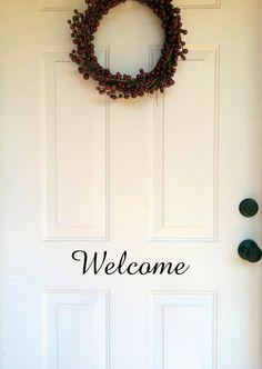 Welcome Front Door Decal 12x4. $12.00, via Etsy.