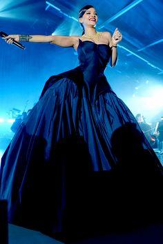 RiRi looking hella fine in that dark blue ball dress!  #Riri #rihannadress