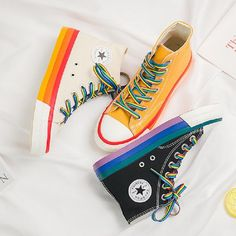 Rainbow Casual Shoes for Woman Casual Sneakers, Sneakers Fashion, Casual Shoes, High Top Sneakers, High Heels, Mode Converse, Aesthetic Stores, Basket Sneakers, Hype Shoes