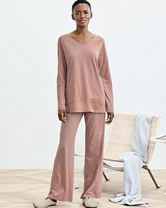 458d4b9e95 Eileen Fisher Organic Cotton Silk Trim Pajamas Sleepwear Lounge Rose L  14 16 NWT
