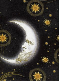 Large Sun and Moon Black - Celestial Collection - In the Beginning - Jason Yenter - Half Yard