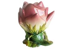 French Majolica Rose Bud Vase by Delphin Massier, c.1890