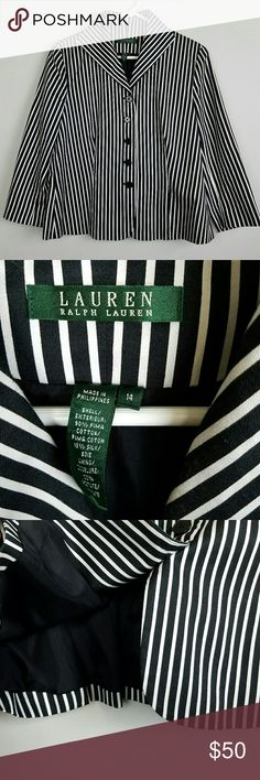 "Ralph Lauren Striped Blazer Sz 14 Let's be honest---This is a classic piece. It doesn't matter if you're dressed up, or casual...you will be the BEST dressed girl in the room with this piece. This belongs in everyone's closet. It's timeless.  Navy and white stripes. Nautical inspired.  Measures lying flat  Bust 21"" Length 22""  Large Lauren Ralph Lauren Jackets & Coats Blazers"