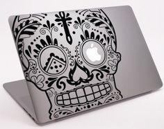 The Cross Sugar Skull  Laptop Notebook Macbook  Decal 11 door Tapong, $8.99