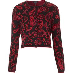 TOPSHOP Paisley Jaquard Cardigan ($20) ❤ liked on Polyvore featuring tops, cardigans, topshop, red, paisley print top, flip top, red cardigan, paisley cardigan and topshop tops