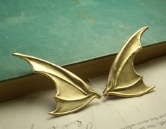 Bat wing barrettes brass retro gothic by mylavaliere