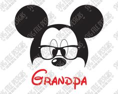 Mickey Mouse Grandpa Cut File Set in SVG, EPS, DXF, JPEG, and PNG