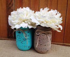 Pint Painted Mason Jars,Vintage,Rustic Home Decor,Wedding Centerpieces, Shabby Chic Painted Mason Jars,French Country,Baby Bridal Shower by LacyBellesBoutique on Etsy https://www.etsy.com/listing/195354119/pint-painted-mason-jarsvintagerustic