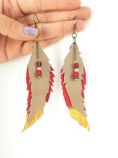 Long Leaf Drop Earrings Silver Black Dangle Feather Party Vintage Big Boho Hippy