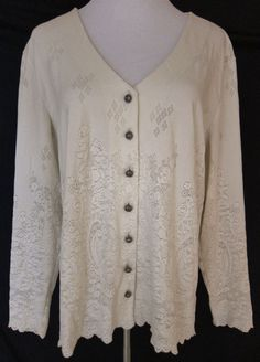 Coldwater Creek Women's Size 1X Ivory Stretch Lace Look Long Sleeve Button Top #ColdwaterCreek #Blouse