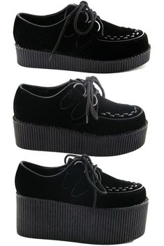 Tendance Chaussures NEW WOMENS BLACK PLATFORM LACE UP LADIES FLATS CREEPERS PUNK GOTH SHOES SIZE 3-8