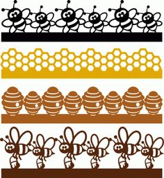 Silhouette Online Store - View Design #60814: bee borders set