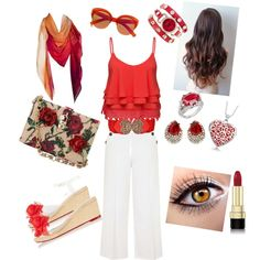RedWhite by tanz-mim on Polyvore featuring polyvore fashion style Volant Topshop Charlotte Olympia Dolce&Gabbana Ben-Amun J ♦ Jaz Geneva River Island
