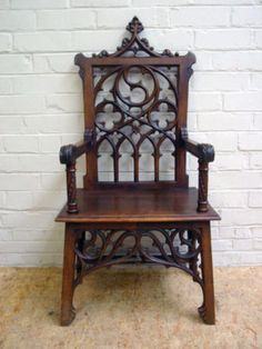 French Gothic Arm Chair Walnut 19th Century, Victorian Gothic
