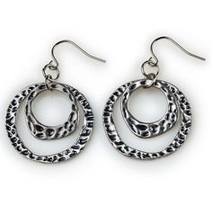 """Myra Earrings- 1.75"""" Double antique silver hoops are textured and polished for an exotic look that pairs well with several necklaces from the fierce Cleopatra to the simpler Isis. $15 #myra #yourstylemialisia"""