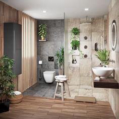Pink Bathroom: Designs & Decoration Photos - Home Fashion Trend Wet Room Bathroom, Bathroom Plants, Simple Bathroom, Bathroom Sets, Bathroom Flooring, Downstairs Bathroom, Jungle Bathroom, Coral Bathroom Decor, Bathroom Colors