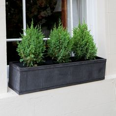 Rustic Vence Fluted Window Box Zinc Planter - Large from The Farthing: https://thefarthing.co.uk/products/rustic-vence-fluted-window-box-zinc-planters