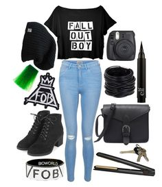 """Fall Out Boy"" by mersunflower ❤ liked on Polyvore featuring New Look, Topshop, GHD, Saachi, Manic Panic NYC, emo, Punk, bands, Tshirt and falloutboy"