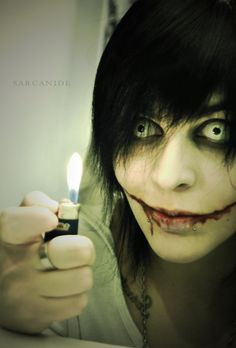 "cosplay] Jeff the Killer (creepypasta) by Sarcanide on deviantART ""yay fire! Jeff The Killer, Cosplay Anime, Best Cosplay, Creepypasta Proxy, Creepy Pasta Family, The Killers, Dhmis, Horror Makeup, Spooky Scary"