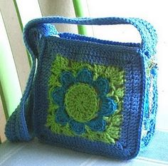love big granny bag in blue. consider large oversized, crocheted bag for beach...