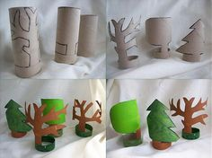 Trees from toilet roll. Stromy s deťmi a pre deti / na. Crafts To Do, Fall Crafts, Christmas Crafts, Crafts For Kids, Arts And Crafts, Diy Crafts, Projects For Kids, Toilet Roll Craft, Toilet Paper Roll Crafts