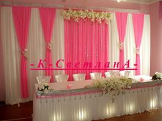 Discover thousands of images about minus the bouquets/colors, only the draping of the curtains Quince Decorations, Backdrop Decorations, Wedding Decorations, Wedding Stage Backdrop, Photo Booth Backdrop, Party Kulissen, Luxury Wedding Decor, Pipe And Drape, Head Tables