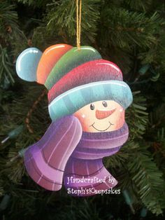*SNOWMAN ~ Wooden Hand Painted Snowman Ornament by stephskeepsakes on Etsy.