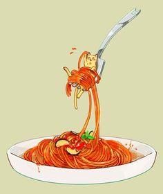 猫と一緒にいただきます。スパゲティでいろんな種類できそう。