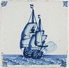 Antique Dutch Delft tile depicting a warship firing a canon, c. 1650