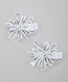 Love this White Snowflake Hair Clip Set by Bubbly Bows on #zulily! #zulilyfinds
