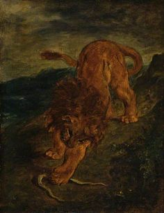The Lion and the Snake Eugene Delacroix 1847