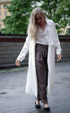Loose pants & long loose trench coat