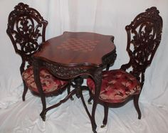 Outstanding PAIR of Meeks Rosewood Rococo Victorian Parlor Chairs ~ Circa 1850's ~ New York City
