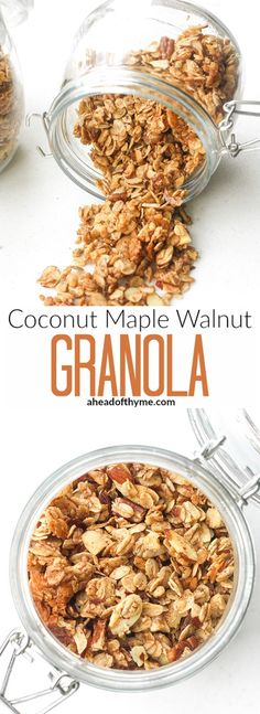 Give yourself a healthy start to your day with some homemade coconut maple walnut granola. You will never go back to that high-sugar store-bought stuff! Muesli, Paleo Dessert, Breakfast Bars, Breakfast Recipes, Breakfast Cereal, Breakfast Ideas, Healthy Snacks, Healthy Recipes, Maple Walnut