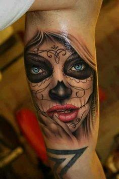 Sugar skull girl accent colors tattoo, día de los muertos, day of the dead