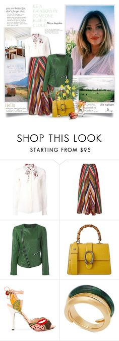 """""""Be A Rainbow In Someone Else's Cloud"""" by thewondersoffashion ❤ liked on Polyvore featuring Dorothee Schumacher, Rosie Assoulin, Twin-Set, Gucci, Charlotte Olympia and Michael Kors"""