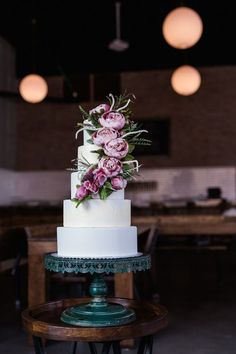 Must-See Bridal Inspo in an Industrial Style Brewery | The Perfect Palette Floral Wedding Cakes, Wedding Cakes With Cupcakes, Wedding Cake Decorations, Elegant Wedding Cakes, Floral Cake, Wedding Cake Designs, Cupcake Cakes, Cascading Flowers, Wedding Cake Inspiration