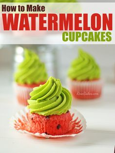 How to Make Watermelon Cupcakes. Summer is here and it's time to have watermelon. cupcakes that is ;) Check out this fun and easy recipe for bright, summery cupcakes! Cupcake Recipes, Baking Recipes, Cupcake Cakes, Dessert Recipes, Baby Cakes, Cup Cakes, Mini Cakes, Dessert Ideas, Watermelon Cupcakes