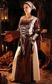 Mittelalter-Kleid mit Bordüren