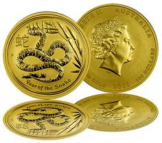 """2013 """"Year of the Snake"""" Gold Coins  The Perth Mint released the first of the 2013 """"Year of the Snake"""" Gold Coins to the American Public. Minted as part of the Australian Gold Lunar Coin Series these Lunar Coins have a new design for each year representing the ancient Chinese Lunar Calendar. The magnificent Gold Coins are struck in .9999 Gold.  The Lunar Series of Gold Coins Individuals born in the Year of the Snake include birth dates in 1917, 1929, 1941, 1953, 1965, 1977, 1989, 2001, and…"""